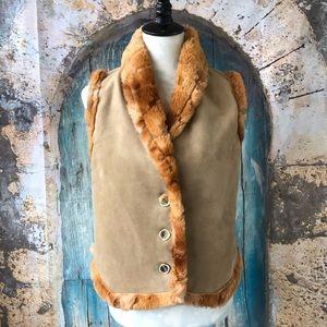 Montana Clorhing Co.-Tan Faux Sherpa Fur Vest